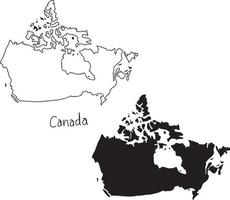 outline and silhouette map of Canada - vector