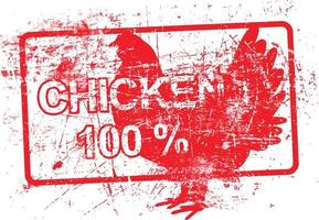chicken 100 percent - red rubber dirty grungy stamp vector