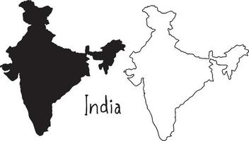outline and silhouette map of India - vector