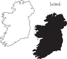 outline and silhouette map of Ireland - vector