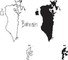 outline and silhouette map of Bahrain - vector