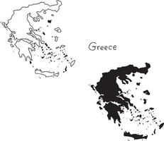 outline and silhouette map of Greece - vector