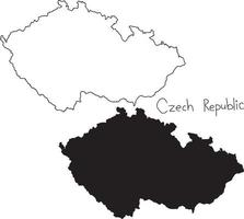 outline and silhouette map of Czech Republic - vector