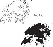 outline and silhouette map of Hong Kong - vector