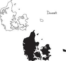 outline and silhouette map of Denmark - vector illustrationckground