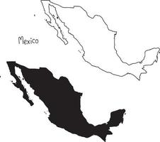 outline and silhouette map of Mexico - vector illustration
