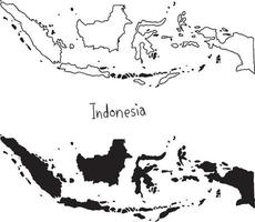 outline and silhouette map of Indonesia - vector