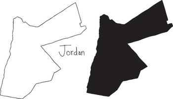 outline and silhouette map of Jordan - vector illustration