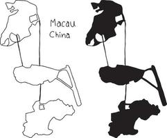 outline and silhouette map of Macau China - vector