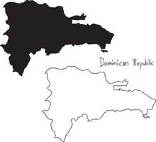 outline and silhouette map of Dominican Republic - vector