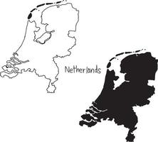 outline and silhouette map of Netherlands - vector