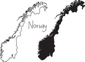 outline and silhouette map of Norway - vector