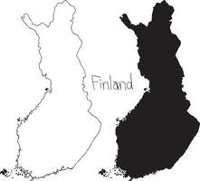 outline and silhouette map of Finland - vector illustration