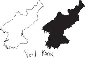 outline and silhouette map of North Korea - vector