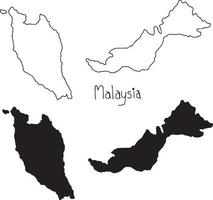 outline and silhouette map of Malaysia - vector