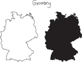 outline and silhouette map of Germany - vector illustration