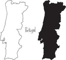 outline and silhouette map of portugal - vector illustration