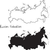 outline and silhouette map of Russian Federation vector