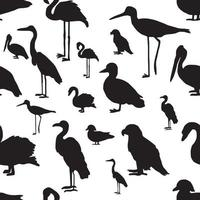 seamless pattern various kinds of birds silhouette vector