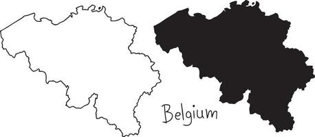 outline and silhouette map of Belgium - vector illustration