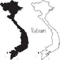Mapa de contorno y silueta de Vietnam - ilustración vectorial vector