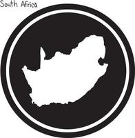 vector illustration white map of South Africa on black circle