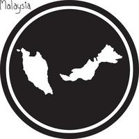 vector illustration white map of Malaysia on black circle