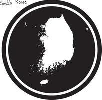vector illustration white map of South Korea on black circle