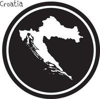 vector illustration white map of Croatia on black circle