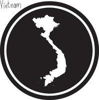 ilustración vectorial mapa blanco de vietnam en círculo negro vector