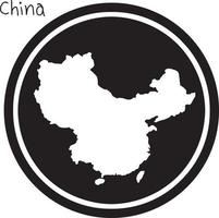 vector illustration white map of China on black circle