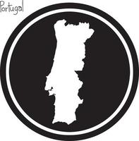 vector illustration white map of Portugal on black circle