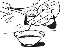 close-up hands of Asian chef using spoon to put tobiko vector
