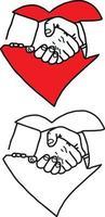 business handshake in heart sign - vector illustration