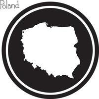 vector illustration white map of Poland on black circle