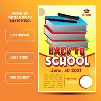 Back to school poster or flyer template with book character vector