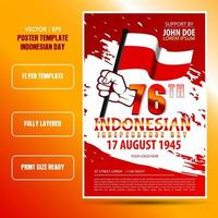 Indonesian independence day flyer template with red color vector