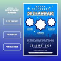 Muharram islamic holiday flyer or template vector
