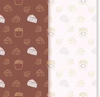 seamless pattern with cheeses and french fries vector
