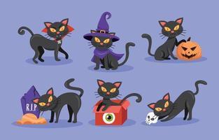 Halloween Black Cat Characters Collection vector