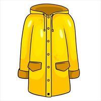 impermeable amarillo con kormans y capucha. ropa de otoño. vector