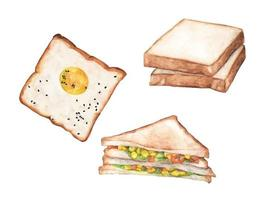 Watercolor bread set. Different kinds of bread. vector