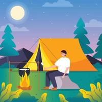 Solo Camping in the Forest vector