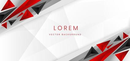 Abstract template red and black triangles layered on white background. vector