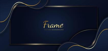 Abstract dark blue wave and curve with golden line on background. vector
