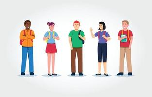Cartoon University Character Set vector