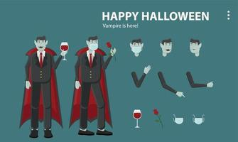 feliz halloween vampiro asustado amor drácula horror máscara vino vector