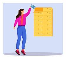 mujer recibe carta ilustración de vector de color plano
