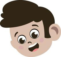 Cute kid Face. Cute and Adorable Caucasian Kid with Brunette hair vector