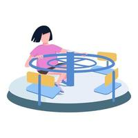 Girl spinning on carousel flat color vector faceless character